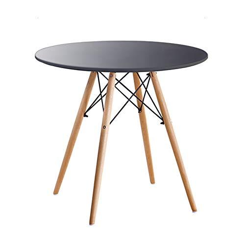 ZZHF La table de nuit Table d'appoint, table de salle à manger stable, table d'assemblage en bois massif, table basse de loisirs avec balcon, table de négociation, table ronde de café, noir, blanc tab