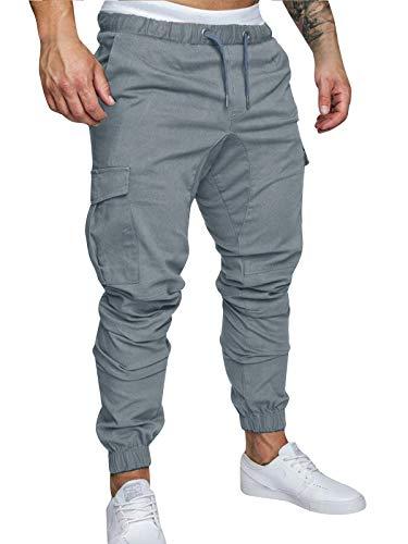 Pantalones de Hombre Casuales Chino Deporte Joggers Pants Algodón Slim Fit Jeans Cargo Trouser (X-Large, Gris)