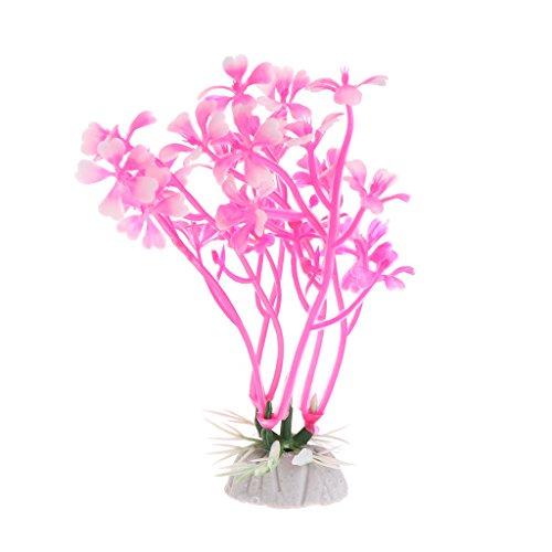 (FKY 1 Strauß künstliche Wasserpflanzen für Aquarien, Dekoration Ornamente Pink)
