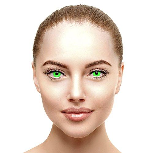 i-Glow Zombie Halloween Farbige Kontaktlinsen Ohne Stärke UV Grün (Tageslinsen)