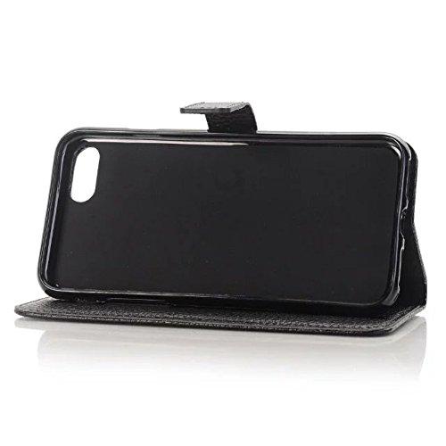 iPhone Case Cover Qualitäts-Litschi-Muster PU-Leder-Kasten des Normallack-Mappen-Kasten-Abdeckung Schlag-Standplatz-Fall für Appple iPhone 7 ( Color : Rose , Size : IPhone 7 ) Black