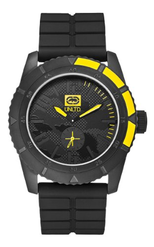 Marc Ecko Unisex Quartz Watch with Black Dial Analogue Display and Black Silicone Strap E13541G1