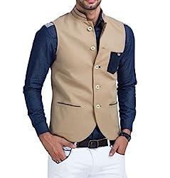Mr Buttons Mens Slim Fit Nehru Jacket NJA011-L_Beige_Large