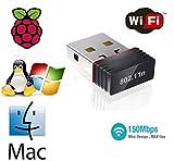 TB Ralink 5370 - Dongle USB 2.0 Wireless 802.11n USB WiFi Adattatore Compatibile per Raspberry Pi, Raspberry Pi BIOS, Windows 2000 / XP/Vista / Win7 / Win 8 / Win 10 / Mac/Linux 2.4 o Superiori