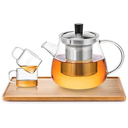 Théière en Verre résistant à la Chaleur de Kung Fu thé Filtre à thé en Verre de 600ml \ 900ml 2 Tasses + Plateau à thé GAODUZI (Capacité : 600ml)