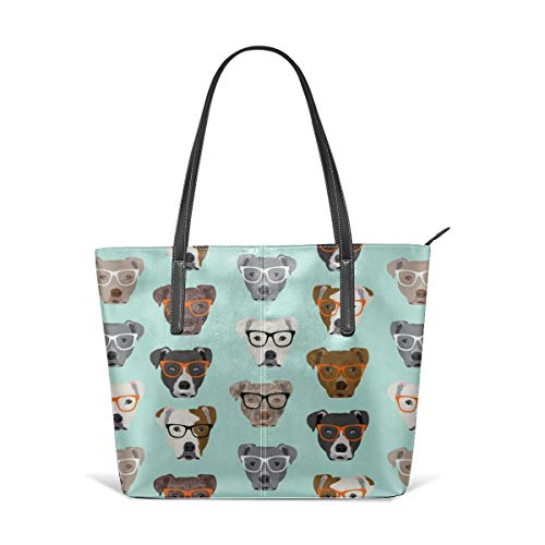 Frauen weiches Leder Tote Umhängetasche Pitbull In Brille Cute Dogs Pitty Pitbull Dog Fashion Handtaschen Satchel Geldbörse