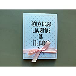 Lágrimas de Felicidad para Bodas con pañuelo corazones rosas. Personalizable. 70 unidades.