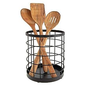 iDesign Küchenutensilienhalter für die Arbeitsfläche, runder Besteckhalter aus Metall, Küchen Aufbewahrung, mattschwarz