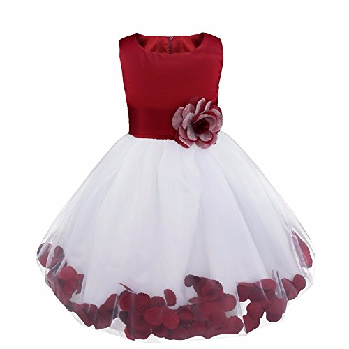 Girl Flowers Petal Sleeveless Wedding Formal Dress Kid Princess Bridesmaid Christening Party Dresses Burgundy 8 Years