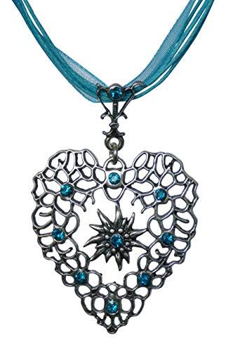 Herz Edelweiss Kette - Antikschmuck Design - durchbrochen - Swarovski Kristalle in Türkis