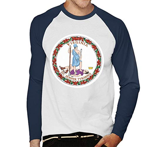 Coto7 Virginia State Flag Men's Baseball Long Sleeved T-Shirt Dominion Baseball