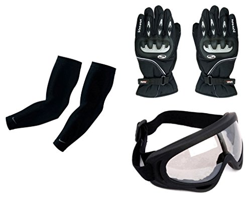 Auto Pearl Premium Quality Bike Accessories Combo Of Arm Sleeve for Protection against Sun, Dust and Pollution Black 2 Pcs. & Vemar 1 Pair of Full Hand Grip Gloves for Bike Motorcycle Scooter Riding - (Black) & Premium Quality Adult Motorbike Motocross ATV / Dirt Bike Racing Transparent Goggles with Adjustable Strap - BLACK  available at amazon for Rs.2978