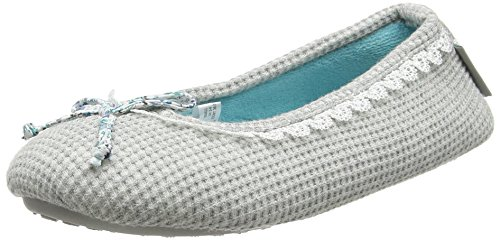 isotoner-womens-waffle-ballet-slippers-grey-grey-m-37-38-eu
