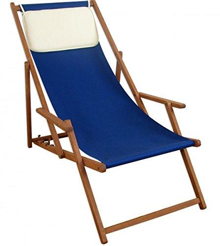Erst-Holz Liegestuhl Strandstuhl blau Kissen Gartenliege Relaxliege Sonnenliege Buche klappbar 10-307 KH