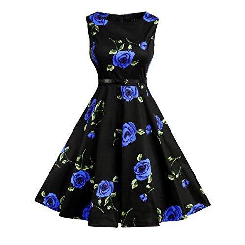 Lylafairy Frühling Keild, Damen A-Linie 50er Vintage Abendkleid Rockabilly Kleid Knielang...