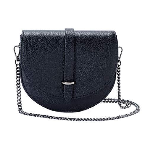 Ira del Valle, Modell Monaco, Handtasche für Damen/junge Frauen, Elegante, modische Pochette mit Kette als Trageriemen, Kleine Handtasche, Clutch aus Echtleder, Made in Italy, Schwarz
