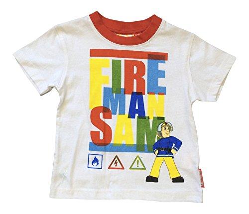 Feuerwehrmann Sam Jungen 100% Baumwolle t-Shirt mit Kurze Ärmel (3 Jahre, Weiß) (Sturm Kostüme Für Kinder)