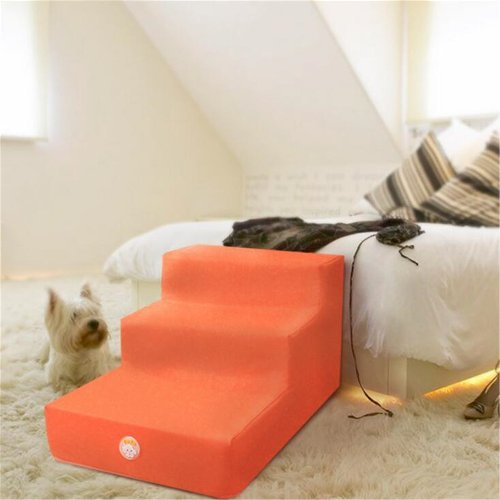 Kondrao 3 Stufen Leicht Schritt Hund Treppe Abnehmbaren Leder Bedecken, L26