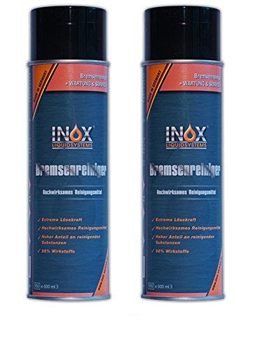 INOX® Bremsenreiniger, acetonfreier Bremsscheibenreiniger für KFZ - 2 x 500ml