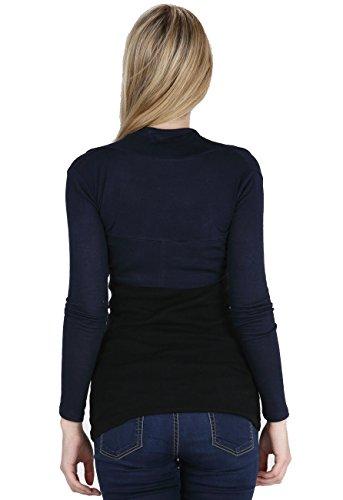 Vogueland da donna tinta unita Coprispalle maniche lunghe bolero Shruf top cardigan molti colori Navy