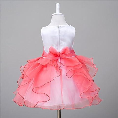 Bambini si vestono ragazze vestito principessa tutu Flower Girl Dress età gonna Cento Giorni , watermelon red , M