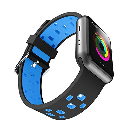 Chok Idea Strap Compatible with Apple Watch Armband 42mm 44mm,Atmungsaktiv Two-Tone Style Soft Silikon Sport Ersatzband Replacement for iWatch Series 4 3/2/1,Black-Blue -