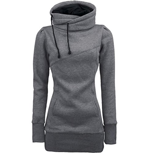 Damen Hoodie Sweatshirt,Dasongff Frauen Kapuzenpullover Mit hohem Kragen Feste Sweatshirt Pullover Tops Slim Fit Pulloverkleid (S, Grau)