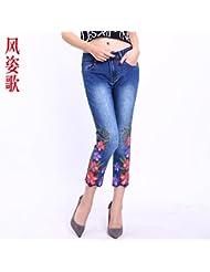 brodés de fleurs, huit point pantalon, cylindres, élastique des jeans serrés