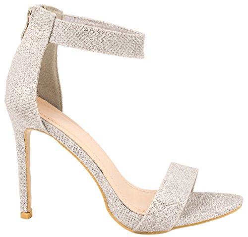 Elara Damen Pumps | Knöchelriemchen Sandaletten | Bequeme Stilettos Größe 38, Farbe Silber