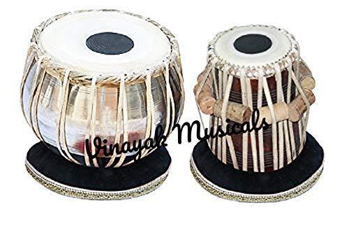 Vinayak Musicals Tabla-Set, Basic-Tabla Drums Set, Steel Bayan, Dayan mit Hammer, Kissen und Abdeckung - perfekte Tablas für Studenten und Anfänger, Tabla Drum (5,25 Zoll E# Scale Tabla) - Basic-kissen-abdeckungen