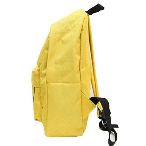 Femminile Spalla Pacchetto Student Semplice Zaino Della Tela Di Canapa Di Svago,LightBlue Yellow