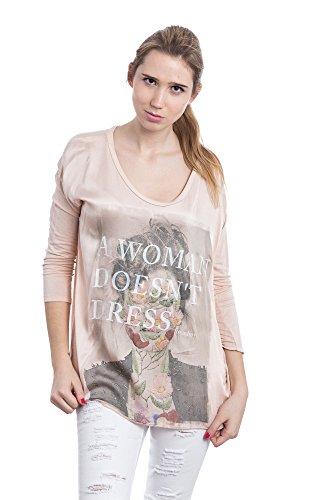 Abbino 6683 T-Shirts Tops Damen - Made in Italy - 4 Farben - Übergang Frühling Sommer Herbst Damenshirts Damentops DamenT-Shirts Lässig Langarm Sexy Sale Freizeit Elegant Muster Viskose Rosa (Art. 6683)