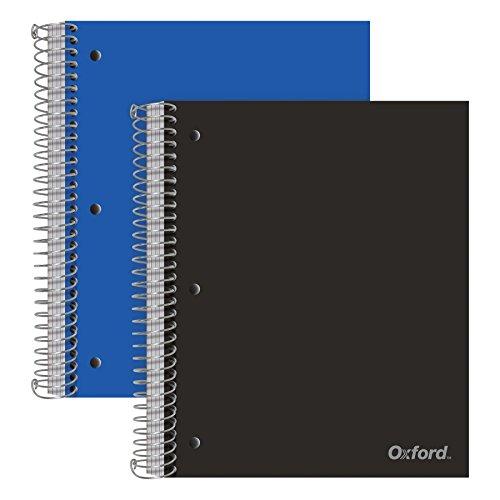 Oxford 5-subject Poly Notebooks, 22,9x 27,9cm College Rule, sortiert Farbe Bezüge, 200Blatt, 5POLY Trennwand Taschen, 2Pack (10388) Oxford 2 Tasche