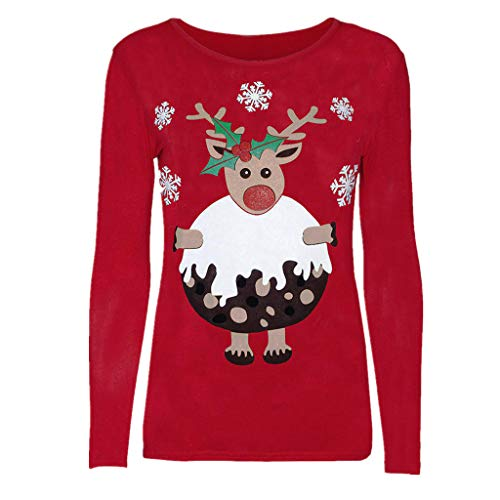 KUDICO Damen Weihnachts-Tops Lange Ärmel Santa Snowflake Elk Print T-Shirt Sweater Bluse Sweatshirt(Rot 2, EU-34/CN-S)