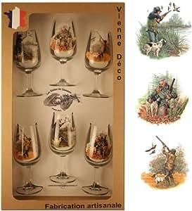 Coffret de 6 verres à vin sérigraphie chasse