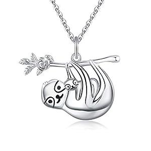 925 Sterling Silber Faultier Anhänger Halskette für Frauen Mädchen Muttertag Geschenk