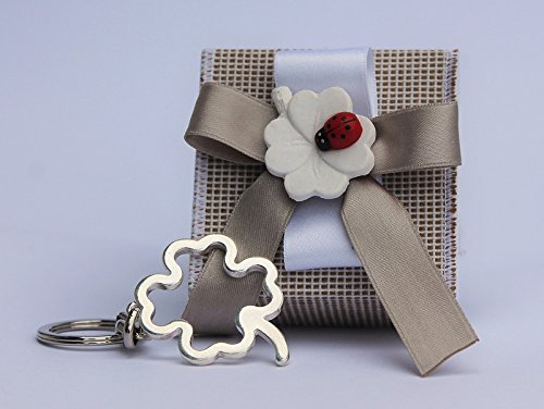 Bomboniera scatolina portachiavi cm 6,5x6,5x3 con quadrifoglio (per urgenze provare a contattare il venditore)