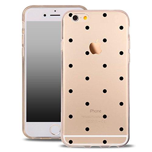 OOH!COLOR® Design Case für iPhone 7 mit Motiv MPA147 weiß Punkte modisch stilvoll Silikon Hülle elastisch Schutzhülle Transparent Case Luxus Cover Slim Etui MPA148 schwarze Punkte