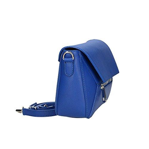 Chicca Borse Borsa a tracolla in pelle 23x16x8 100% Genuine Leather Blue