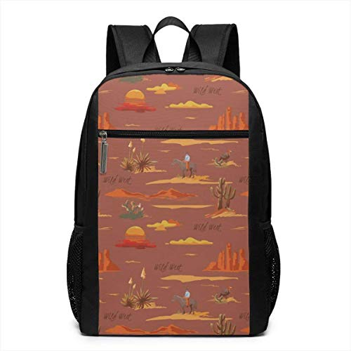 TRFashion Rucksack Vintage Desert Landscape Cowboy Fashion Student Outdoor Backpack 17in Teens Bookbags Travel Laptop College Business Daypack Schoolbag Book Bag for Men Women Black