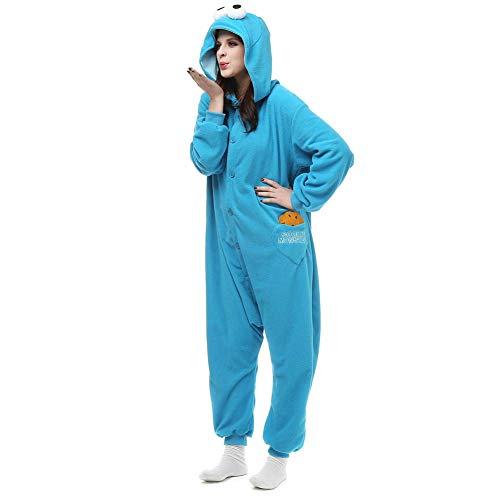 Sleepwear Home Sesamstraße-Plätzchen-Monster & Elmo-Strampler für Erwachsene. Halloween Xmas Animal Kigurumi Pyjama Kostüm für ()