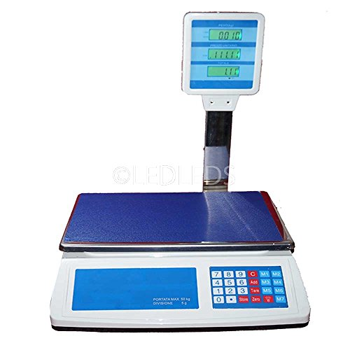 Bilancia Digitale Elettronica 50 Kg 5gr Doppio Display Lcd Da Banco