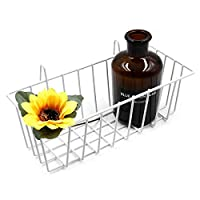 ANZOME Grid Basket, Wire Wall Basket With Hook, Wall Mount Organizer for Grid Panel, Wire Storage Shelf Rack for Home Supplies, Wall Decorations(White)