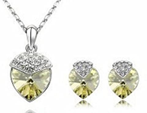 SaySure - 18K Platinum Plated Rhinestone Crystal design Jewelry Sets