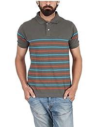 Yukth Men's Half Sleeve Yarn Dyed Polo T-shirt Grey