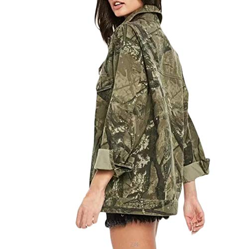 Mantel Damen REALIKE Frau Elegant Collar Kragen Camouflage Jeansjacke Vintage Tasche Langarm Coat Mit Knopf Casual Lose Trenchcoat Outwear...
