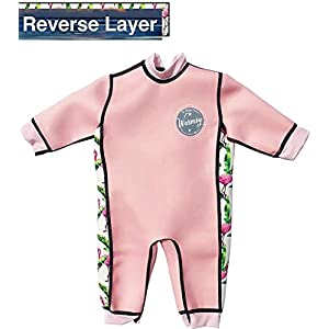 Aquajoy Warmsy - Premium Reversible Baby Wetsuit/Swimsuit | 2 in 1 Design | Great for Boys and Girls at Pool, Beach and Bath | Extra Warm Infant, Toddler and Newborns (3-6 Months, Pink Flamingo)