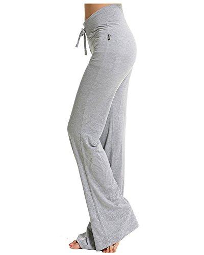 Donne Flares Lunghi Pantaloni Yoga Danza Del Ventre Allenamento Bell Pantaloni Grigio Chiaro