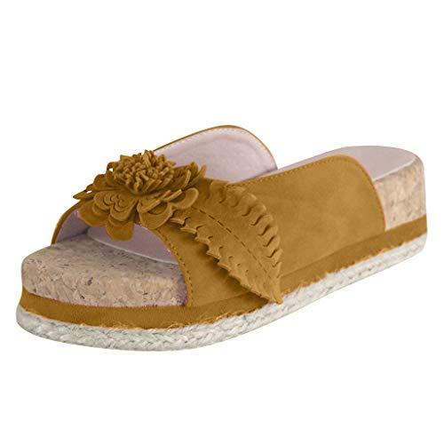FNKDOR Schuhe Damen Blume Hausschuhe Peep-Toe Dicker Boden Pantoffeln Gras Weben rutschfest Im Freien Slipper Gelb 41 EU Tone Peep Toe Slingback Sandal