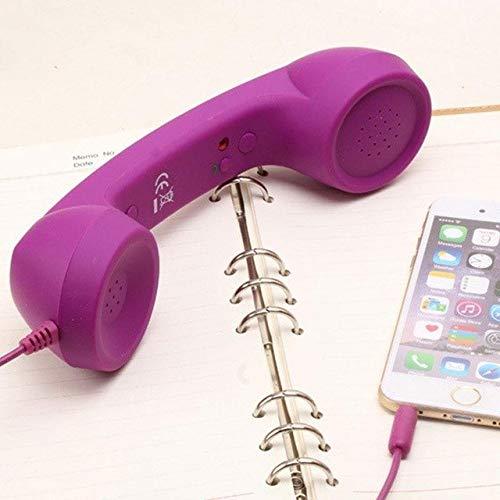 HATCHMATIC BCMaster Retro verkabelte Strahlungsschutz-Headset, 3 mm Mikrofon, Handy-Handset, Fancy Gifts für Handys, Empfänger, Tablet, PC violett Pc-violett